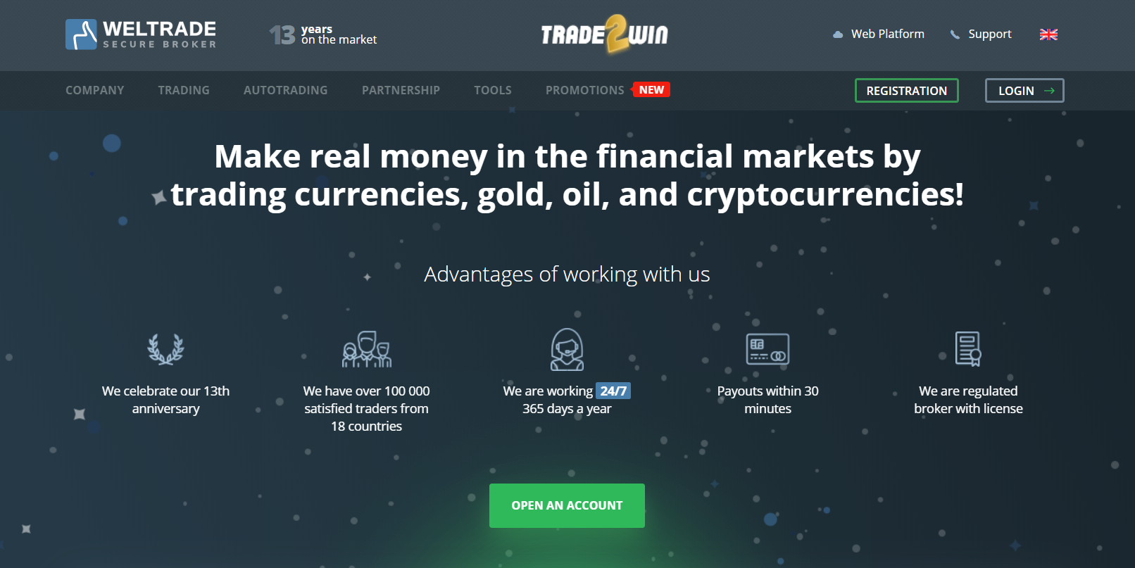 Weltrade homepage