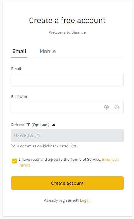 Binance registration page