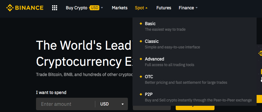 Binance choose your account