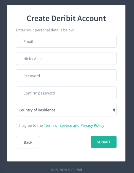 Deribit registration form